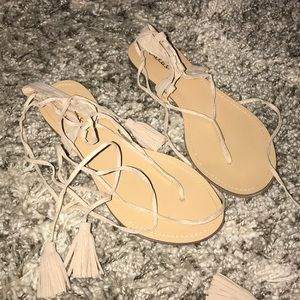 Lace up nude strappy sandals